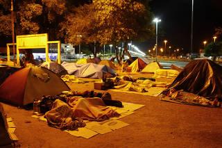 Acampamento de venezuelanos em Roraima.