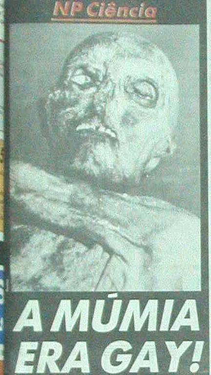 Capa do Notícias Populares de 22 de fevereiro de 1993 em que fala da múmia