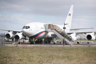 An aicraft sent to collect diplomats and their families from Russia's embassy in London, who were expelled by Britain after the poisoning of former Russian intelligence officer Sergei Skripal and his daughter Yulia in Salisbury, waits at Stansted aiport