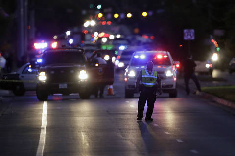 Emergency vehicles stage near the site of another explosion, Tuesday, March 20, 2018, in Austin, Texas. (AP Photo/Eric Gay) ORG XMIT: TXEG131