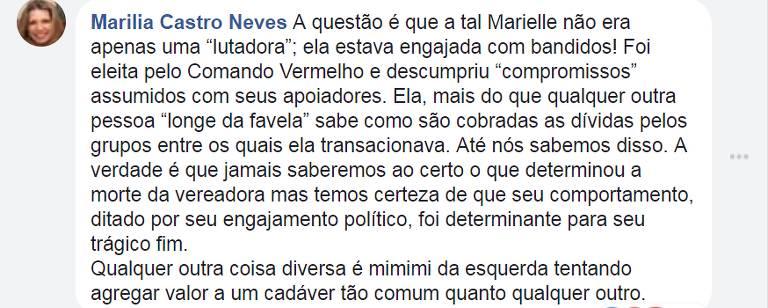Foto mostra comentário da desembargadora Marília de Castro Neves que liga a vereadora Marielle, morta na semana passada, ao tráfico de drogas