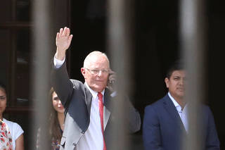 Peru's President Pedro Pablo Kuczynski leaves Government Palace after presenting his resignation to Congress in Lima