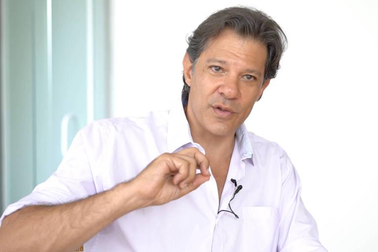 O ex-prefeito de São Paulo Fernando Haddad durante entrevista