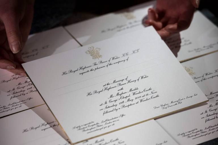 Convite do casamento do príncipe Harry com a atriz Meghan Markle