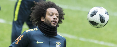 Brasil's Marcelo attends a training session at the Luzhniki stadium in Moscow, Russia, Thursday, March 22, 2018. Russia will face Brazil in a friendly match on Friday, March 23. (AP Photo/Pavel Golovkin) ORG XMIT: XPAG112