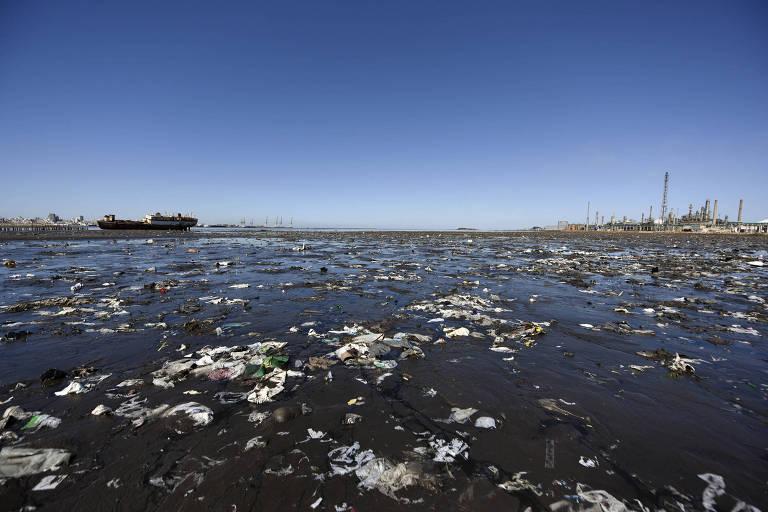 Lixo acumulado na praia Capurro, em Montevidéu