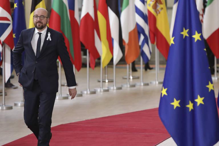 O primeiro-ministro belga, Charles Michel, chega ao encontro de líderes da União Europeia