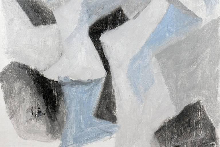 pintura em cinza azul e preto
