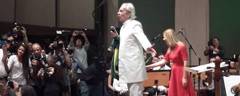 João Pessoa, PB,Brasil  22.03.2018 Show de Geraldo Vandré, 82, em João Pessoa, PB, nesta quinta-feira (22) Foto: Aline Martins/Folhapress