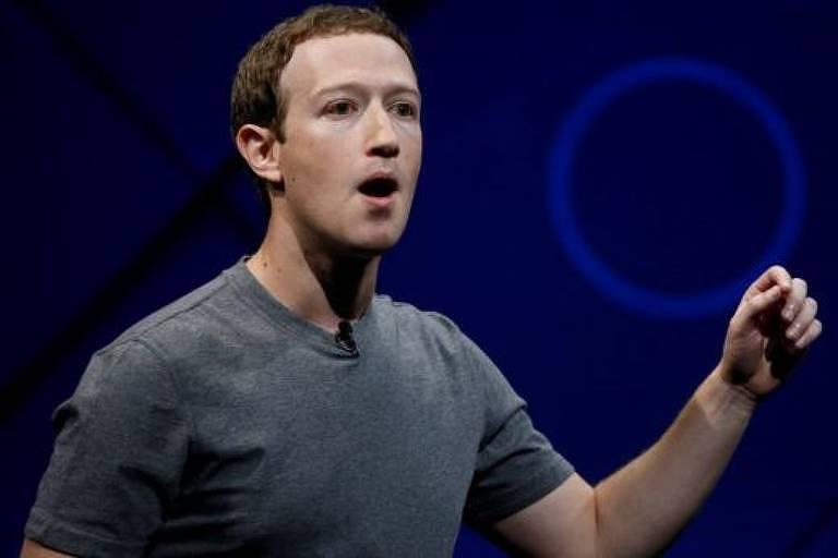 Mark Zuckerberg, CEO do Facebook, fala em evento