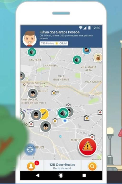 Tela do aplicativo SP+Segura, lançado pela Secretaria Municipal de Segurança Urbana, da Prefeitura de São Paulo