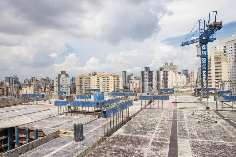 Vista do prédio Tendência, da Setin, em obras na Barra Funda, zona oeste de São Paulo
