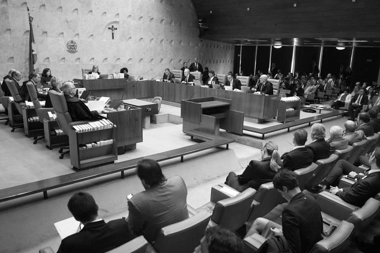 Sessão do STF durante votação de pedido de habeas corpus da defesa do ex-presidente Luiz Inácio Lula da Silva