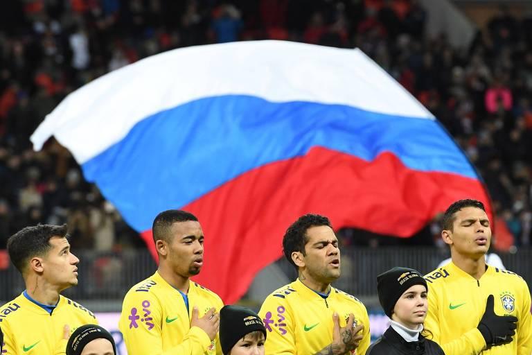 Jogadores da seleção brasileira cantam o hino antes de amistoso contra a  Rússia 14920d62d659f