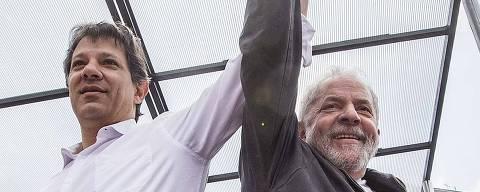 PODER ELEIÇOES- Sao Paulo - O candidatos a reeleiçao para prefieto, Fernando Haddad (PT), no penúltimo dia de campanha, faz passeata com o ex Presidente Lula, pelo centro da cidade. 30/10/2016 - Foto - Marlene Bergamo/Folhapress - 017