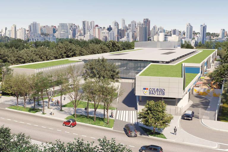projeto de escola horizontal com áreas verdes