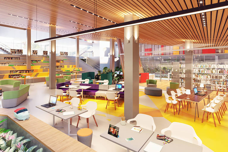 biblioteca com cadeiras e sofás, em áreas de convivência