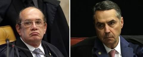 Montagem mostra os ministros do STF Gilmar Mendes e Luis Roberto Barroso; sessão no tribunal foi interrompida após discussão entre os dois