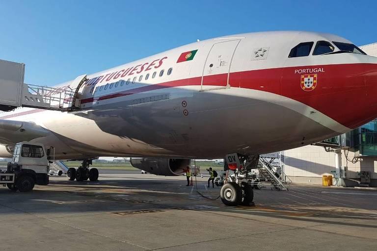 Modelo da aeronave da companhia portuguesa TAP, que teve voo cancelado na Alemanha
