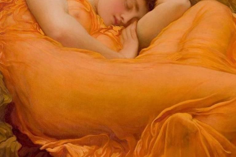 A obra Junho Flamejante tem um ramo oleandro que pode simbolizar a ligação entre o sono e a morte