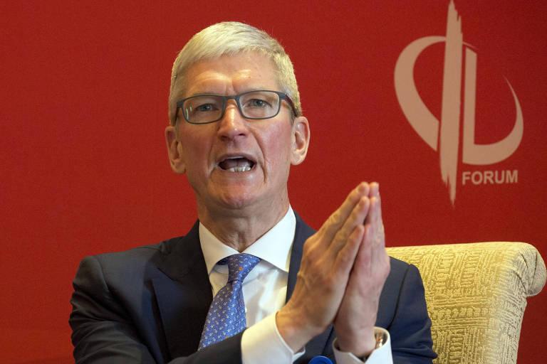 Tim Cook, presidente da Apple, fala durante Fórum de Desenvolvimento na China
