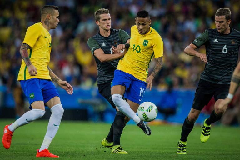 Neymar na decisão da medalha de ouro do futebol na Rio-2016, diante da Alemaha
