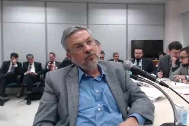 O ex-ministro Antonio Palocci durante depoimento prestado ao juiz Sérgio Moro, em 2017