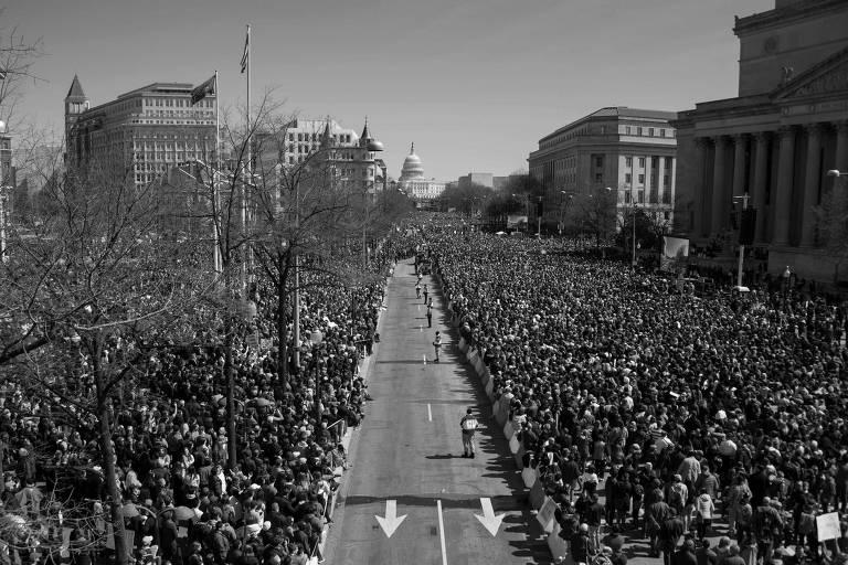 Manifestação contra a venda de armas realizada em Washington, nos EUA