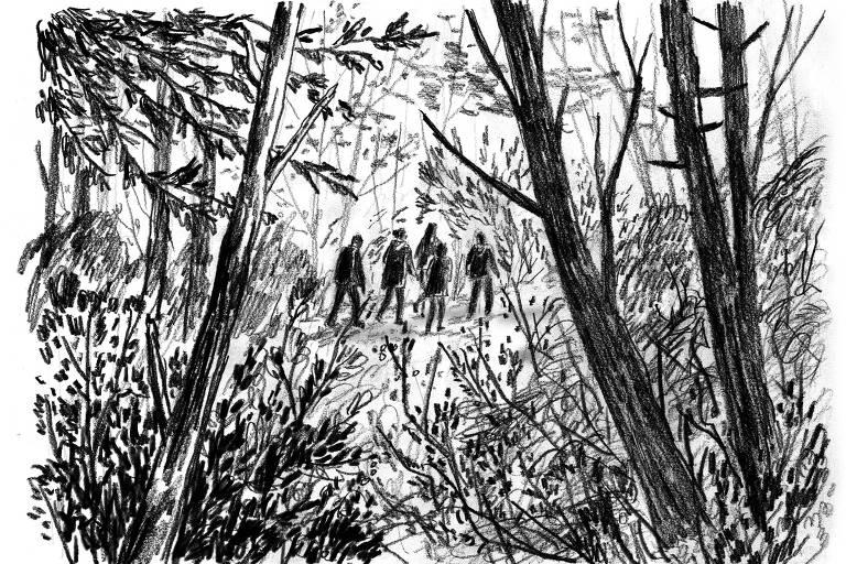 Desenho reproduz mata fechada e cinco pessoas ao fundo, como se estivessem perdidas