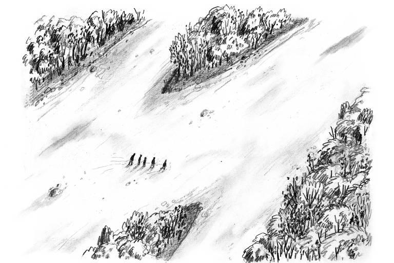 Desenho reproduz região do rio Yalu, por onde os desertores norte-coreanos atravessam para chegar à China