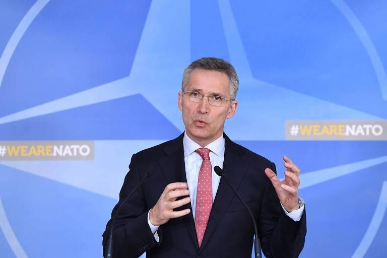 O secretário-geral da Otan, Jens Stoltenberg, em Bruxelas durante o anúncio da expulsão dos diplomatas russos