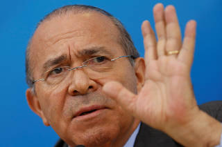 Brazil's Chief of Staff Eliseu Padilha reacts during a news conference in Brasilia