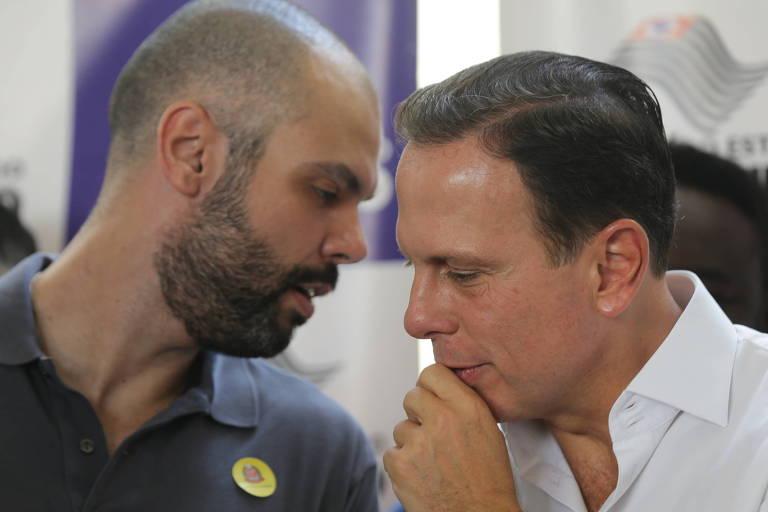 João Doria, que deixará a Prefeitura de São Paulo para concorrer ao governo do estado, e seu vice, Bruno Covas, que assumirá o comando da cidade