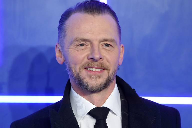 """O ator Simon Pegg poses na estreia europeia de """"Jogador Nº 1"""" em Londres"""