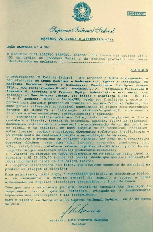 Imagem do mandado de busca e apreensão na empresa Rodrimar, expedido pelo STF