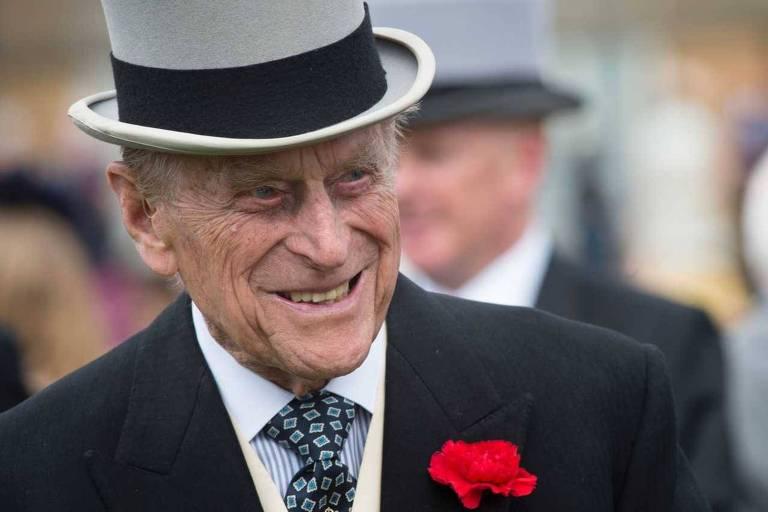 Príncipe Philip, Duke de Edimburgo em uma festa no Palácio de Buckingham, em Londres