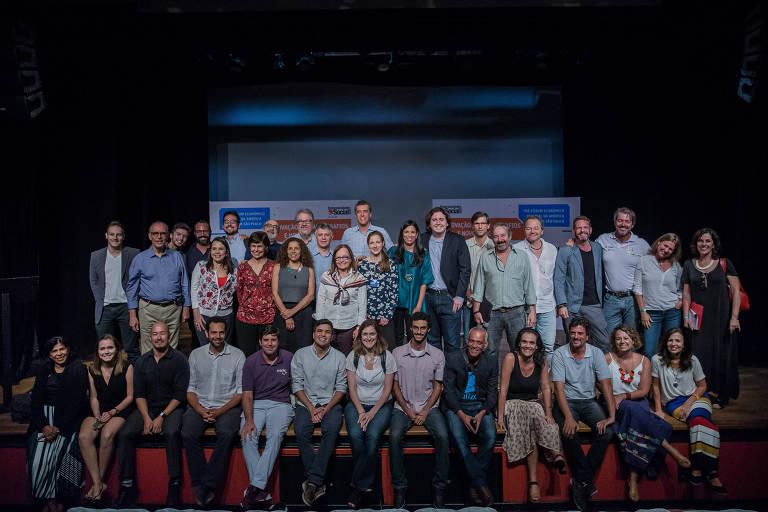 Os empreendedores sociais das redes Folha e Schwab em evento pré-Fórum Econômico Mundial no Teatro Folha, em São Paulo
