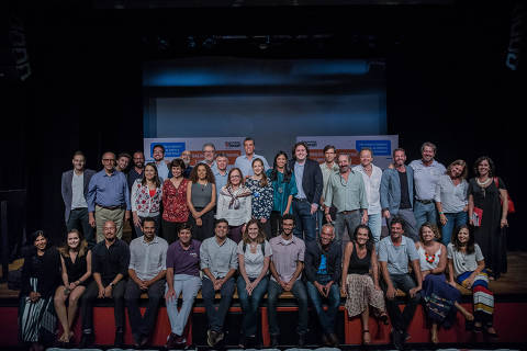 SAO PAULO, SP, BRASIL, 12-03-2018: Grupo de participantes apos evento
