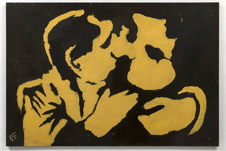 """""""They Are Kissing"""", pintura de Geraldo de Barros exposta na mostra """"Entre Construção e Apropriação"""", no Sesc Pinheiros"""