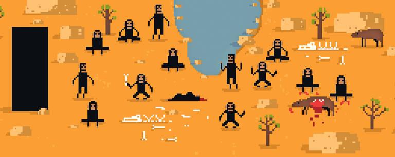 macacos encontram monólito no deserto