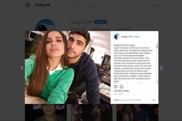 Thiago Magalhães faz 'textão' de aniversário para Anitta