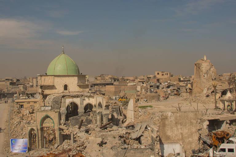 Mossul, cidade que fica ao norte do Iraque, e que ainda recebe ataques do Exército Islâmico