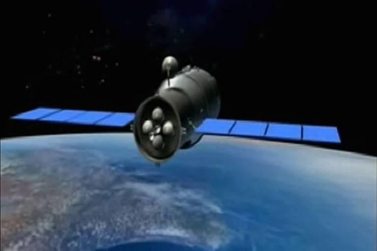 Animação em 3D reproduz a estação espacial chinesa Tiangong-1