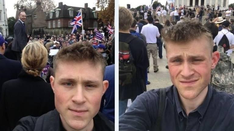 Patrik Hermansson aparece em duas selfies em protestos diferentes, um no Reino Unido, e outro em um local não identificado