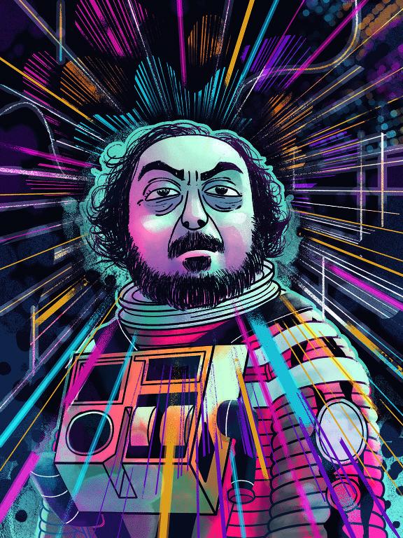 Ilustração do diretor Stanley Kubrick por João Montanaro
