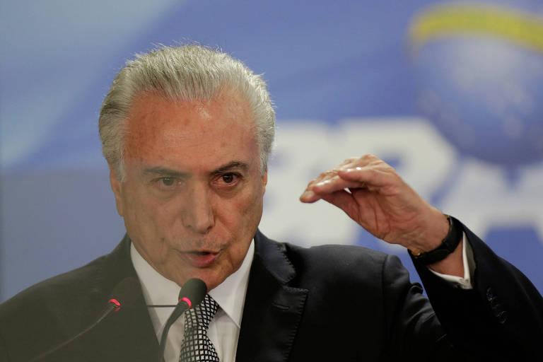 Michel Temer, em Brasília, nesta segunda-feira (2)
