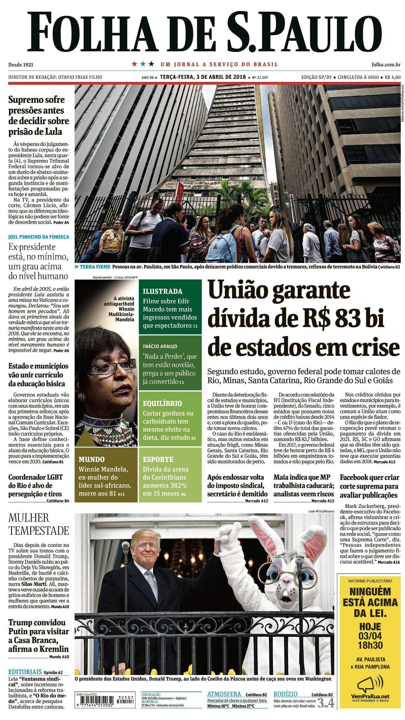 Capa da Edição São Paulo da Folha