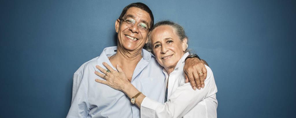 Retratos do cantores Zeza Pagodinho e Maria Bethânia