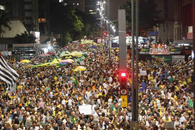 Manifestação de grupos como MBL para pressionar o STF julgar o Habeas Corpus contra o ex presidente Luiz Inácio Lula da Silva, na Av Paulista.