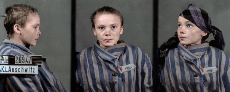 """Foto dividida em três quadros mostra Czeslawa Kwoka, prisioneira política morta aos 14 anos em Auschwitz; é uma menina de cabelos loiros acinzentados cortados rente à cabeça, à moda torta com que geralmente se fazia nos campos de concentração. Ela traja um uniforme listrado cinza usado também nessas prisões e aparece de perfil, de frente e de três quartos, sempre em plano americano (ou seja, cortada na altura do peito). A foto é originalmente preto e branco, mas aqui a vemos colorizada pela brasileira Marina Amaral,  que lançará livro com trabalhos do gênero, """"The Colour of Time: A New History of The World, 1850 - 1960"""""""